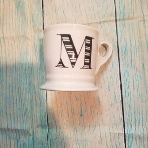 Anthropology monogrammed letter M coffee mug